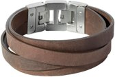 Dacaya Cross Roads Bruin - Leren herenarmband - F100220