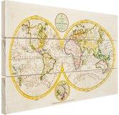 Antieke wereldkaart Hout 30x20 cm - klein - Foto print op Hout (Wanddecoratie)