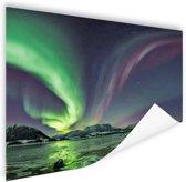 Groen en paars noorderlicht Poster 150x75 cm - Foto print op Poster (wanddecoratie woonkamer / slaapkamer)