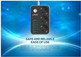 LDNIO Premium Stopcontact / Stekkerdoos / Oplaad Station met 6 USB Poorten 3.4A en 3 stekkers met aan en uit knop