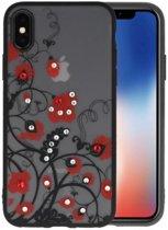 Diamant Bloemen Hoesjes Cases voor iPhone X Rood