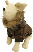 Winterjas voor de hond in de kleur bruin / groen met bont randje - XXS ( rug lengte 17 cm, borst omvang 26 cm, nek omvang 22 cm )