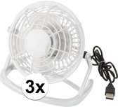 3x Mini ventilator wit - USB aansluiting - tafelventilator