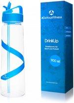 #DoYourFitness - Drinkfles - »DrinkUp« - Sportfles met geavanceerde sluitingstechnologie - 900ml  - Blauw