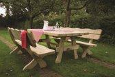 Houten tuinset landelijke stijl 240 cm (tafel + 2 banken)