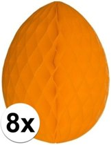 8x Decoratie paasei oranje 20 cm - Paasversiering / Paasdecoratie