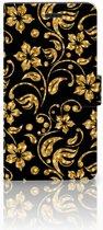 Samsung Galaxy A7 2017 Bookcase hoesje Design Gouden Bloemen