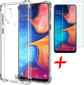 Samsung Galaxy A20e Hoesje + Screenprotector Case Friendly - Transparant Shockproof Case - iCall