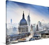 De skyline van Londen met de St Paul's Cathedral Canvas 60x40 cm - Foto print op Canvas schilderij (Wanddecoratie woonkamer / slaapkamer)