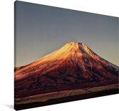 De rood gekleurde Fuji in het Aziatische Japan Canvas 60x40 cm - Foto print op Canvas schilderij (Wanddecoratie woonkamer / slaapkamer)
