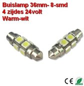 2x Buislamp 36mm 8SMD rond Warm-wit (160 lumen) 24v