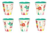 GINGER A Day at The Circus Medium cup set- 6 melamine bekers