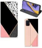 Stand Case Samsung Galaxy A51 Zwart Roze Vormen