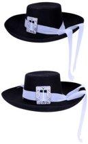 Musketier hoed zwart met witte band populair