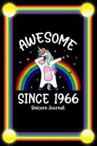 Awesome Since 1966: Birthday Girl Rainbow Dabbing Unicorn Notebook And Journal To Write In For 53 Year Old Boy Girl - 6x9 Unique Diary - 1
