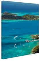 Caribische haven Canvas 80x120 cm - Foto print op Canvas schilderij (Wanddecoratie woonkamer / slaapkamer)