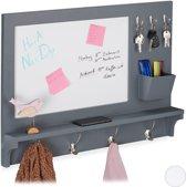 relaxdays wandkapstok met memobord - wandplank - kapstok - ophanghaken - notitiebord grijs