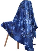 Premium Zijden Sjaal - Lente Van Gogh Amandelbloesem Print - Luxe Shawl - Donker Blauw Stola - groot omslagdoek schilderij