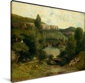 Gezicht op Ornans - Schilderij van Gustave Courbet Canvas 40x30 cm - klein - Foto print op Canvas schilderij (Wanddecoratie woonkamer / slaapkamer)