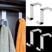 RVS Deurhaak Set - Deur Ophanghaak / Deurkapstok / Deurhanger Kapstok - Handdoek & Kleding Ophanghaken - Deur Haken - Set Van 6 Stuks
