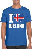 Blauw I love Ijsland supporter shirt heren - Ijslands t-shirt heren XL