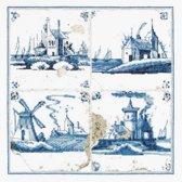 Thea Gouverneur Borduurpakket 484 Delft blauwe tegels dorpje - Linnen stof