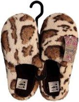 Instap sloffen/pantoffels luipaard print voor dames - Bruin/creme slippers voor dames 37-38