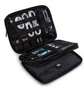 """Draagbare Elektronica Organizer - 3 Lagen - Kabel Reistas - Waterafstotend - Voor 9.7"""" iPad - Harddiscs - Opladers - Zwart"""