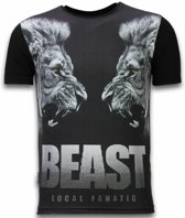 Local Fanatic Beast - Digital Rhinestone T-shirt - Zwart - Maten: S