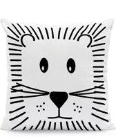 Kussenhoes Lion Zwart Wit | Kussen Kinderkamer 43 x 43 cm