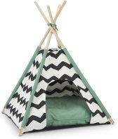 Beeztees Tipi Tent Kioni - Kattenmand - Zwart/Wit/Groen -50 x 50 x 80 cm