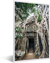 Foto in lijst - Ruïnes in Angkor wat fotolijst wit 40x60 cm - Poster in lijst (Wanddecoratie woonkamer / slaapkamer)