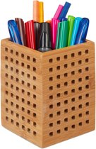relaxdays pennenbakje bamboe - houten box - pennenhouder kantoor - landhuisstijl - bruin