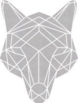 Hond Geometrisch Vlak Hout 40 x 53 cm Grey wash- Wanddecoratie