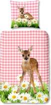 Good Morning 5967-P Bambi - kinderdekbedovertrek - eenpersoons - 140x200/220 cm  - 100% katoen - multi