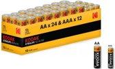 Kodak Xtralife alkaline AA AAA 1.5V Powerbox - 36 Stuks (24x AA + 12x AAA)