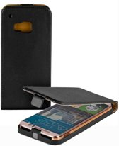 LELYCASE Eco-Lederen Flip Case Cover Hoesje HTC One M9 Zwart
