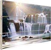 Ban Gioc waterval Hout 120x80 cm - Foto print op Hout (Wanddecoratie)