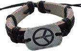 Fako Bijoux® - Armband - Leder - Peace - Zwart