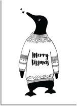 DesignClaud Kerstposter Merry Kissmass - kerstdecoratie - Zwart wit A3 poster (29,7x42 cm)