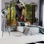 Fotobehang Dinosaur 3D Jumping Out Of Hole In Wall | VEXXL - 312cm x 219cm | 130gr/m2 Vlies