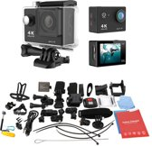 Zwarte Actie Camera  12MP 4k Ultra HD  + Extra accu + 44 in 1  Universeel Accessoires set GoPro Hero 3 4 SJCAM Rollei EKEN Action Cam set