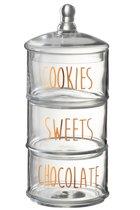 Snoeppot - Voorraadpot - 3 Niveaus - Cookies - Chocolate - Sweets - Glas - Transparant - Goud