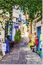 Outdoor Canvas Schilderij - Steeg Griekenland - Landschap