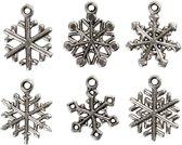 Sneeuwvlok, h: 20 mm, gatgrootte 1,5 mm, antiek zilver, 18div