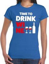 Time to Drink Wine tekst t-shirt blauw dames 2XL