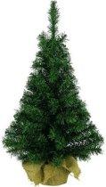 Groene kunst kerstboom/kerstboompje 90 cm met jute zak/kluit - Kerstversieringen/kerstdecoraties