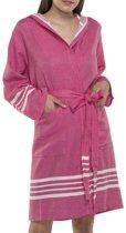 Hamam Badjas Sun Fuchsia - Maat M - korte sauna badjas met capuchon - korte ochtendjas - korte duster - dunne badjas - luxe badjas - dames badjas - badmantel