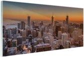 Chicago bij nacht Glas 120x80 cm - Foto print op Glas (Plexiglas wanddecoratie)