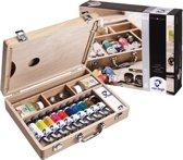 Oil Colour kist 10 kleuren 40 ml tubes olieverf met penselen, palet, paletdoppen, hulpmiddelen en reinigingsdoekje
